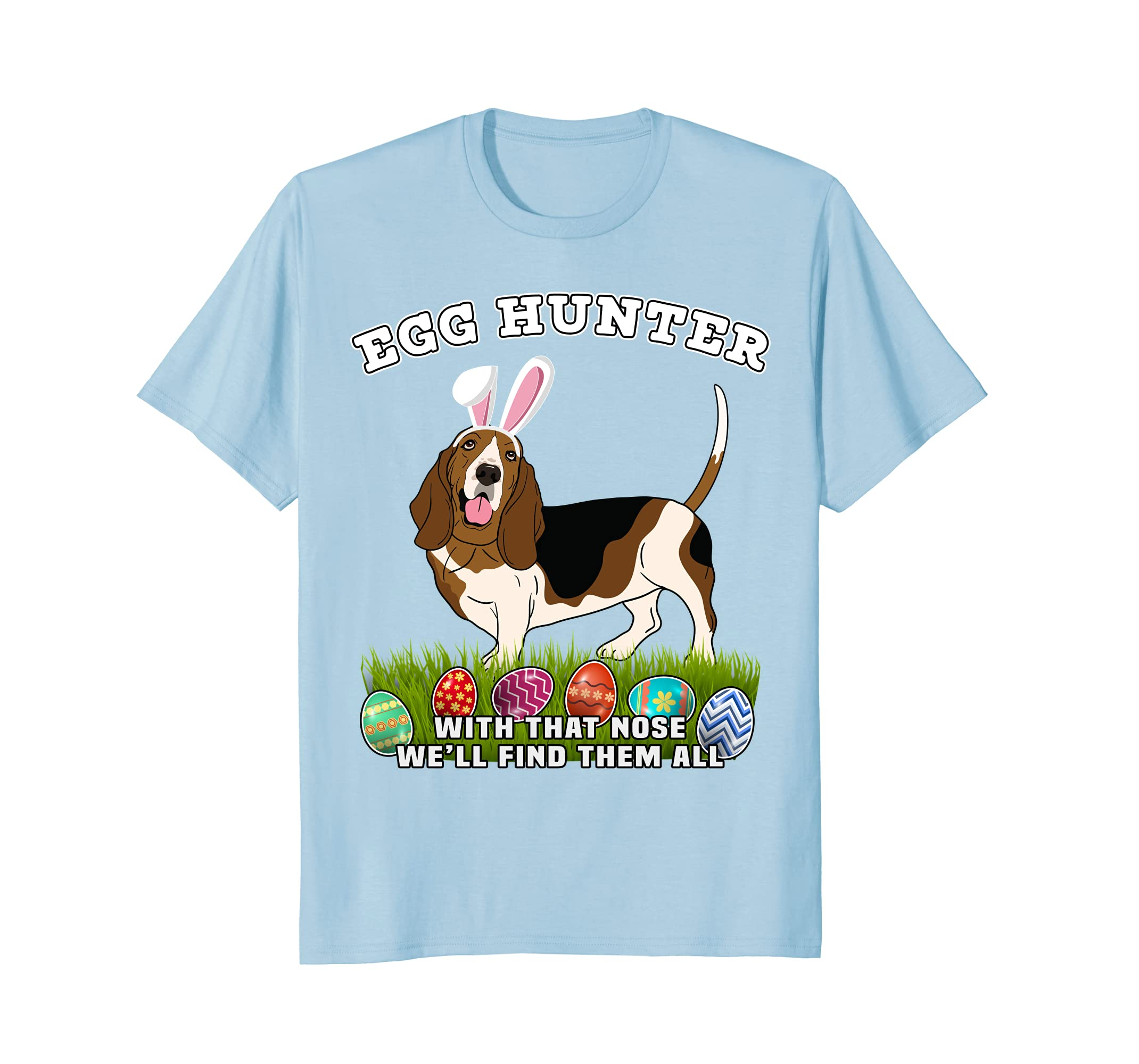 Easter Egg Hunting Dog Bunny Basset Hound T Shirt-AZP