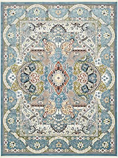 Unique Loom Narenj Collection Classic Traditional Medallion Textured Blue Area Rug (10' 0 x 13' 0)