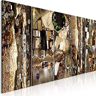 murando - Cuadro en Lienzo Gustav Klimt 200x80 cm Impresión de 5 Piezas Material Tejido no Tejido Impresión Artística Imagen Gráfica Decoracion de Pared Beso Abstracto Oro l-A-0035-b-m