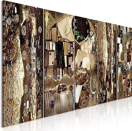 murando - Cuadro Gustav Klimt 200x80 cm - impresión de 5 Piezas - Material Tejido no Tejido - impresión artística - Imagen gráfica - Decoracion de Pared - Beso Abstracto Oro l-A-0035-b-m