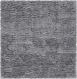 Infinity Collection Solid Shag Square Rug by Rugs.com – Smoke 8' x 8' High-Pile Plush Shag Rug Perfect for Living Rooms, Bedrooms, Dens and More