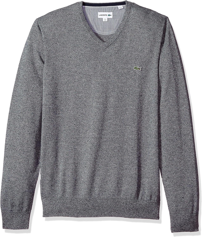 Lacoste Men's V Neck Cotton Jersey Sweater