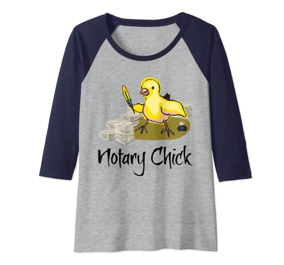 Notary Chick Yellow Feather Quill Ink Pot Blank Paper Funny Raglan Baseball Tee