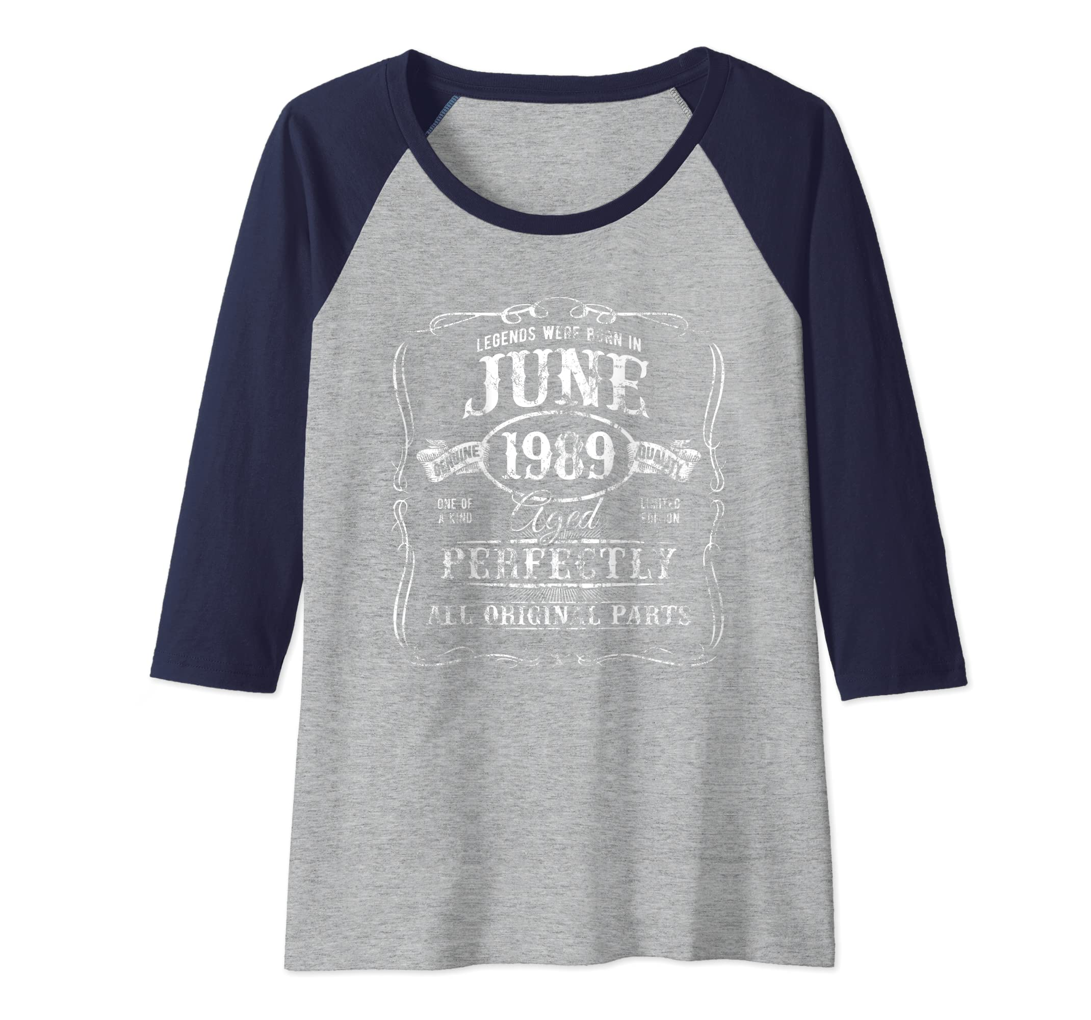 c22324174 Amazon.com: Legends Were Born In June 1989 Vintage 30th Birthday Genuine  Raglan Baseball Tee: Clothing