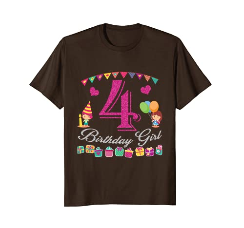 4th Birthday Shirt Girl