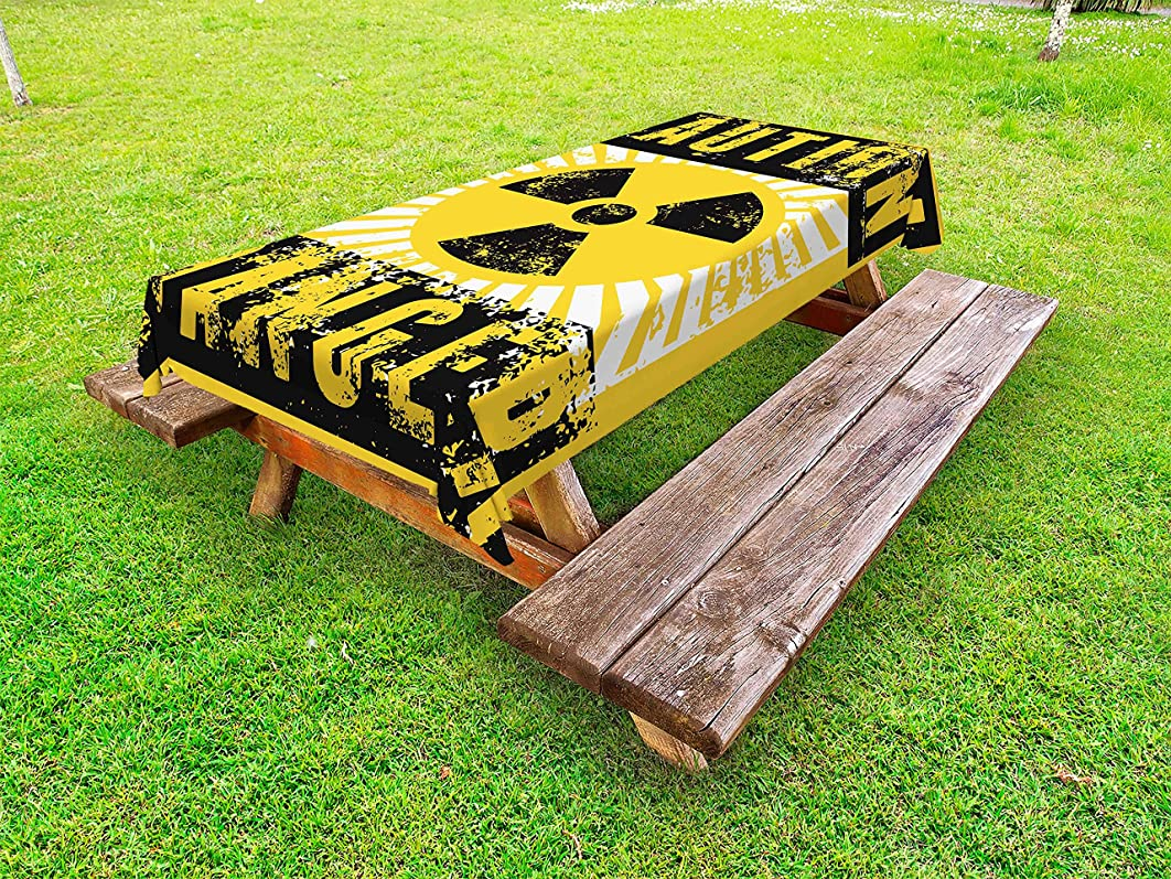 Lunarable Vintage Outdoor Tablecloth, Sign with Caution and Danger Icon Atomic Nuclear Area Beware Toxic Artwork Print, Decorative Washable Picnic Table Cloth, 58 X 84 Inches, Yellow Black