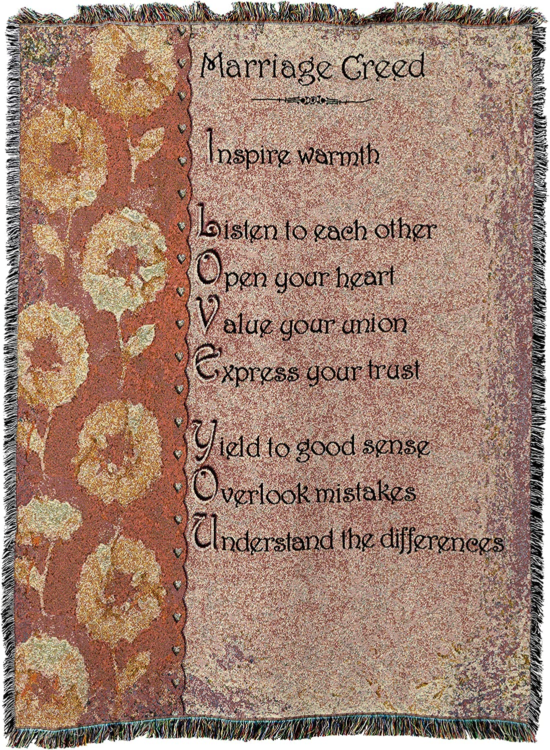Pure Country Weavers   Marriage Creed Wedding Gift Woven Tapestry Throw Blanket with Fringe Cotton USA 72x54