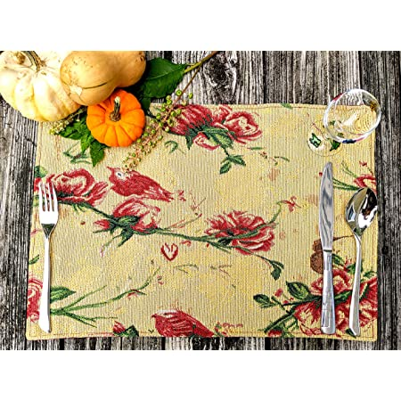 Tache Floral Red Roses Birds Golden Woven Placemat - Vintage Tapestry Kitchen Dining Dinner Mat Table Linens Place Mat - Set of 4