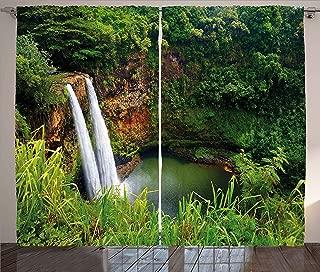 Ambesonne Landscape Curtains, Majestic Twin Wailua Waterfalls Kauai Hawai Greenery Forest Grass Nature Scenic View, Living Room Bedroom Window Drapes 2 Panel Set, 108