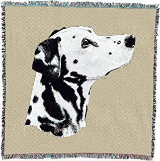 Pure Country Weavers - Dalmatian Woven Throw Blanket with Fringe Cotton. USA Size 54x54