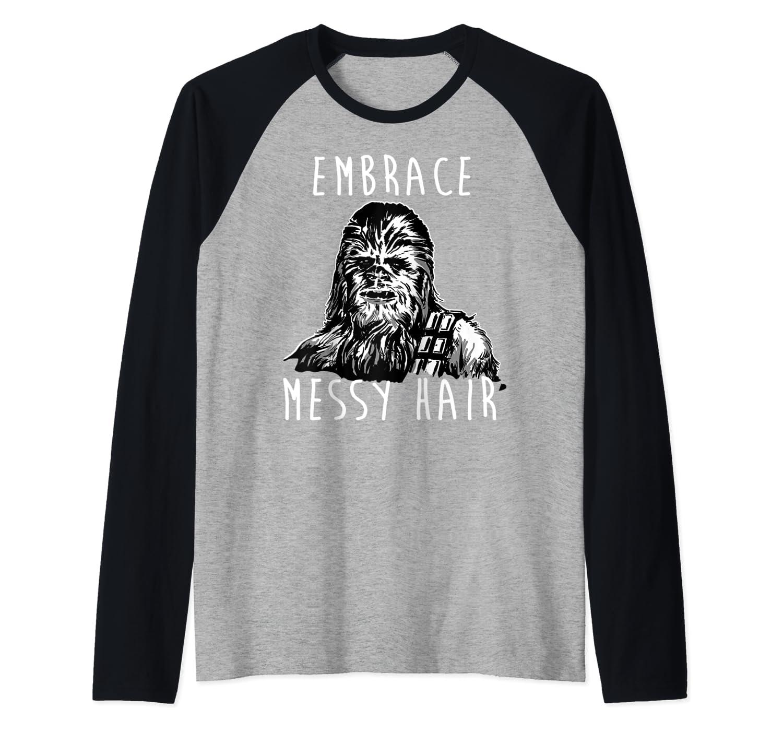 Star Wars Chewbacca Embrace Messy Hair Portrait Raglan Baseball Tee