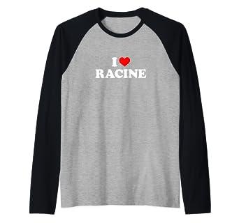 b993479c1605bf Amazon.com: I Love Racine Raglan Baseball Tee: Clothing