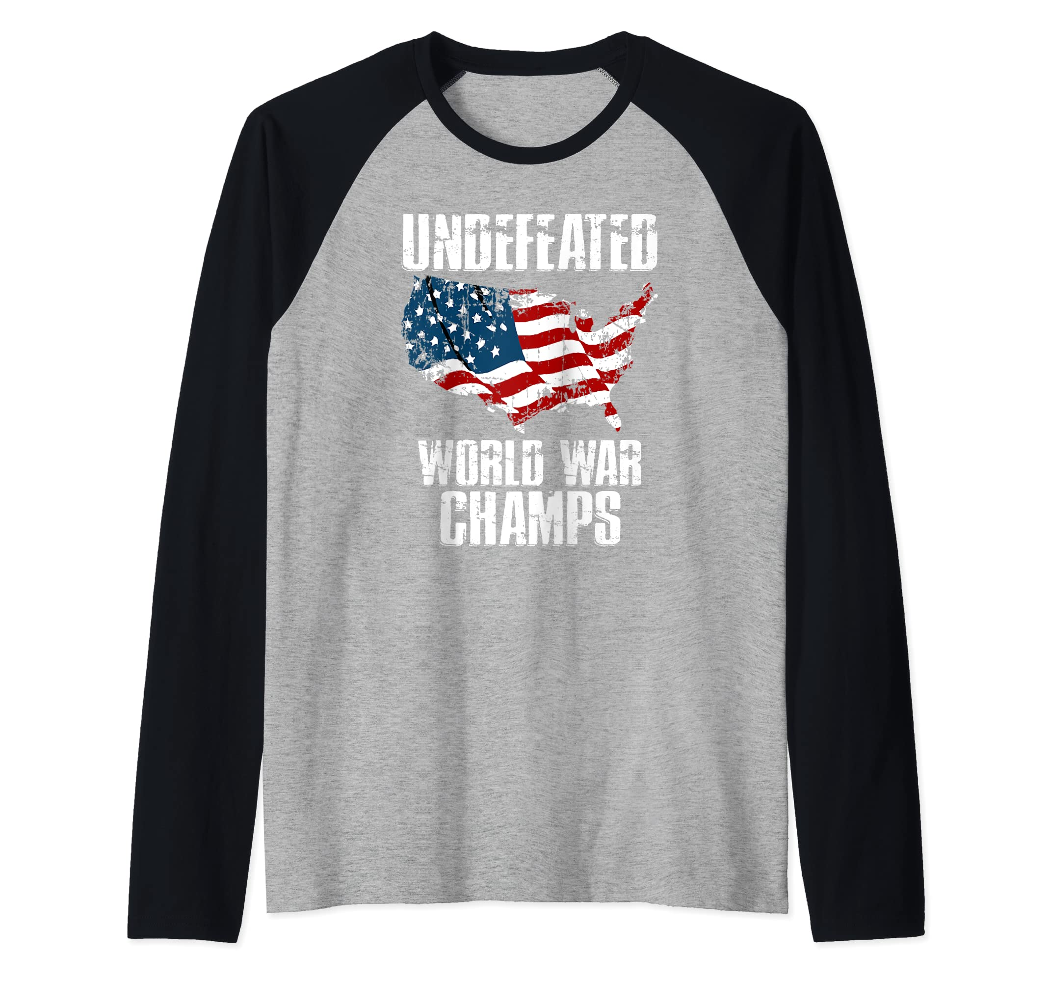 12735cb4 Amazon.com: Vintage USA World War Champions July 4th Freedom Shirt Raglan  Baseball Tee: Clothing