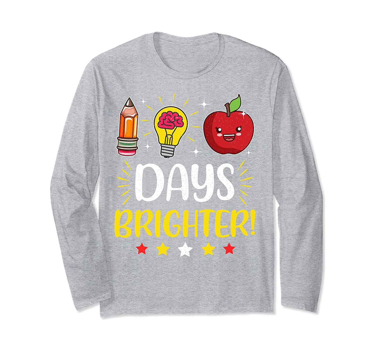 100 Days Brighter Tee Happy 100th Day of School Gifts Long Sleeve T-Shirt-Awarplus