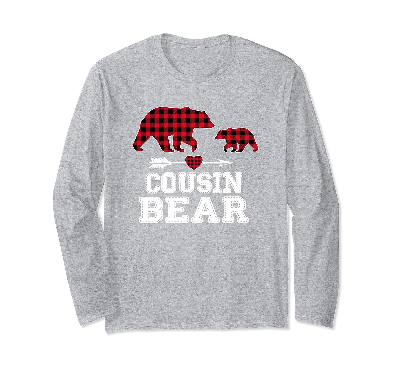 Cousin Bear Christmas Pajama Red Plaid Buffalo Family Gift Long Sleeve T-Shirt