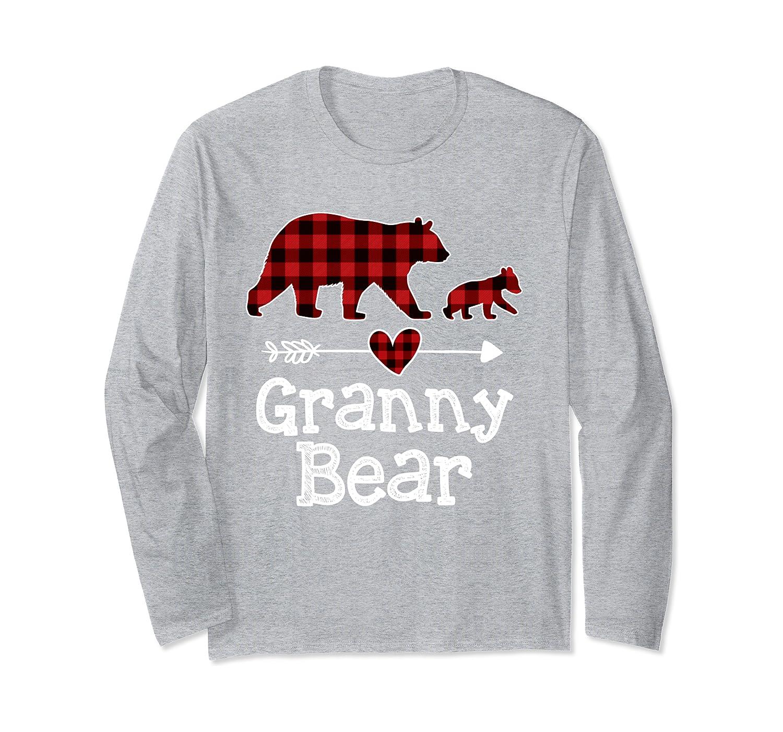 Red Plaid Granny Bear Matching Family Buffalo Pajama Xmas Long Sleeve T-Shirt