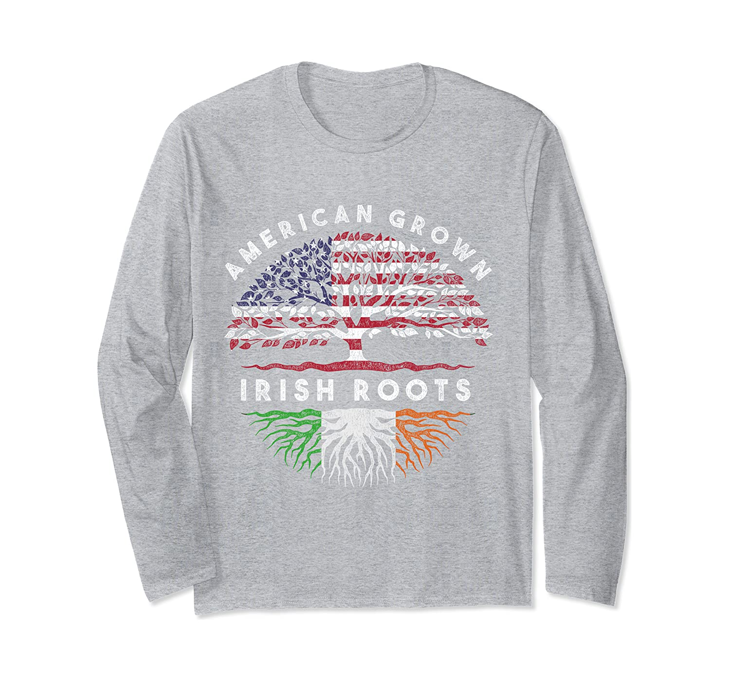 American Grown Irish Roots Ireland Long Sleeve T-Shirt-Awarplus
