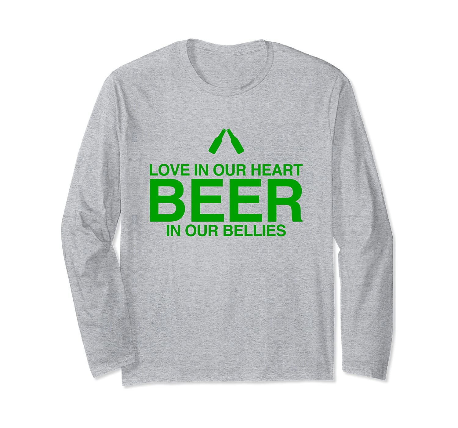 St. Patty Day Saint Patrick's Day Love In Heart Beer In Bell Long Sleeve T-Shirt-Awarplus
