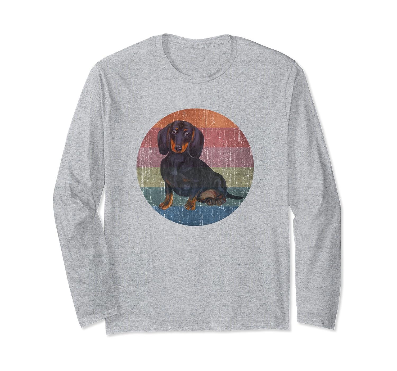 Black Tan Dachshund Wiener Dog Watercolor On Distress Sunset Long Sleeve T-Shirt