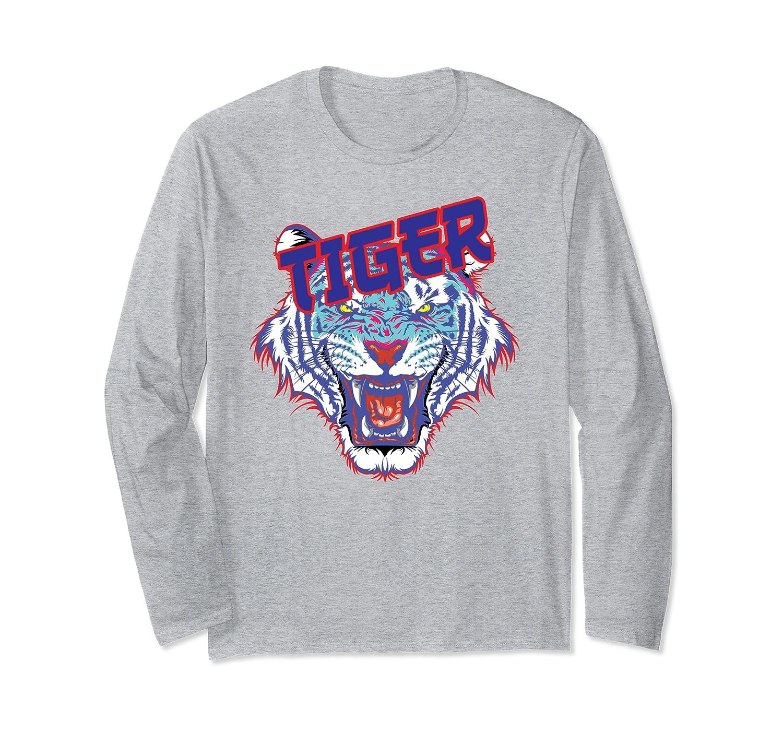 Tiger Face Claw Stripes Street Vintage Retro Fashion Beast Long Sleeve T-Shirt