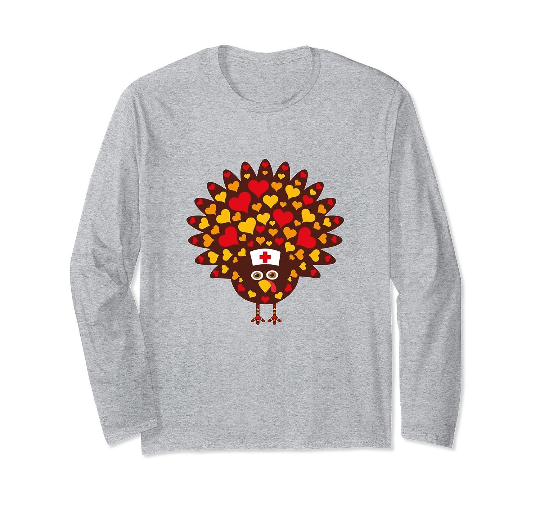 Nurse Turkey Hearts Thanksgiving Scrubs Tops Women Long Sleeve T-Shirt