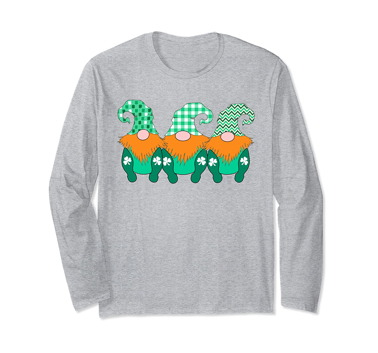3 Cute Irish Gnomes Leprechauns Green Shamrocks Long Sleeve T-Shirt-Awarplus