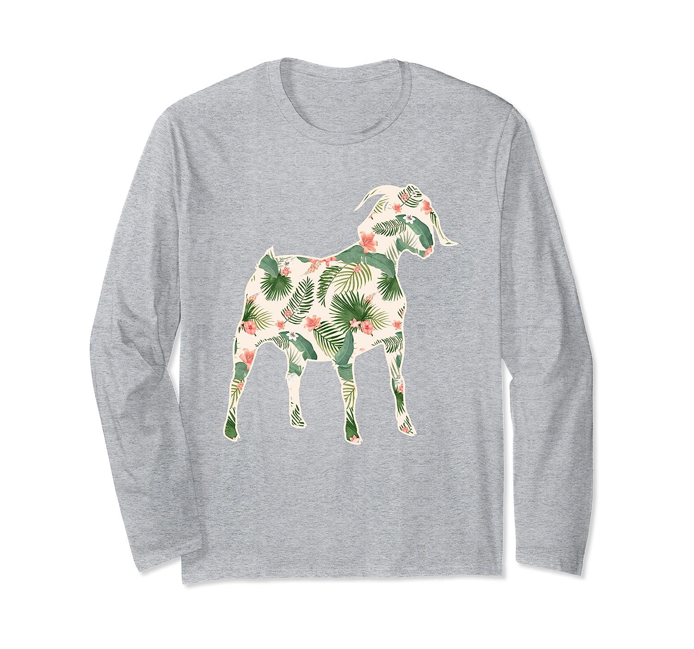 Goat Flower Girl Print Floral Sheep Kid Hawaiian Women Gift Long Sleeve T-Shirt