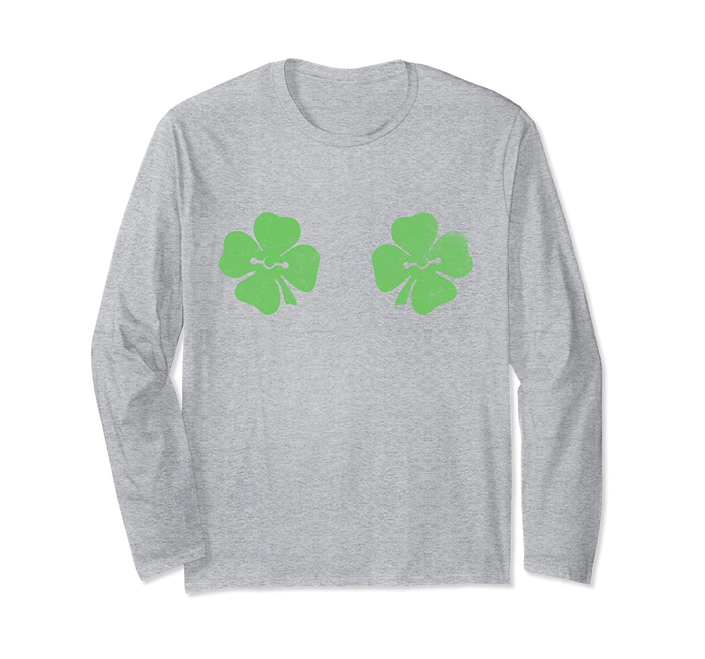 Irish Shamrock Boobs Ireland Saint St.Patrick's Paddys Day Long Sleeve T-Shirt-Awarplus