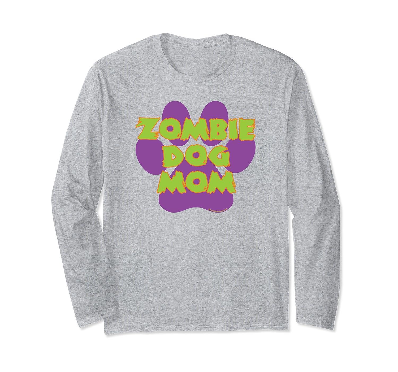 Zombie Dog Mom Funny Halloween Purple Paw Print Long Sleeve T-Shirt