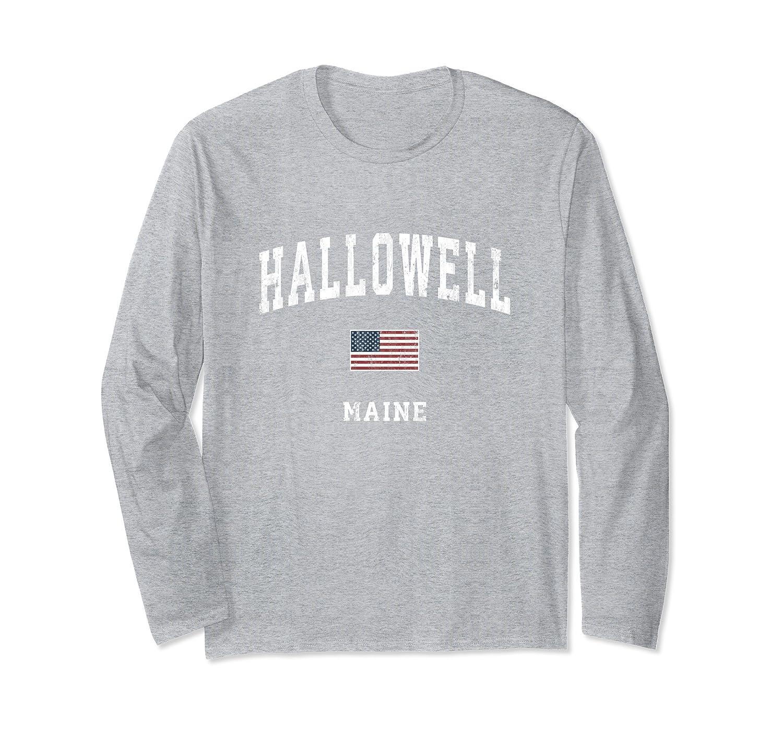 Hallowell Maine ME Vintage American Flag Sports Design Long Sleeve T-Shirt