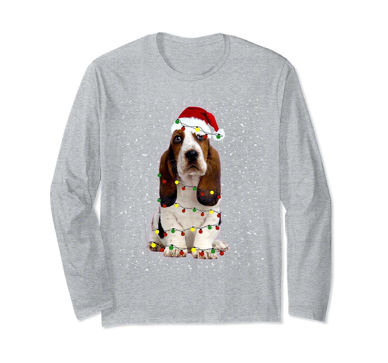 Basset hound Shirt Santa Hat Xmas Lights Christmas Gift Long Sleeve T-Shirt