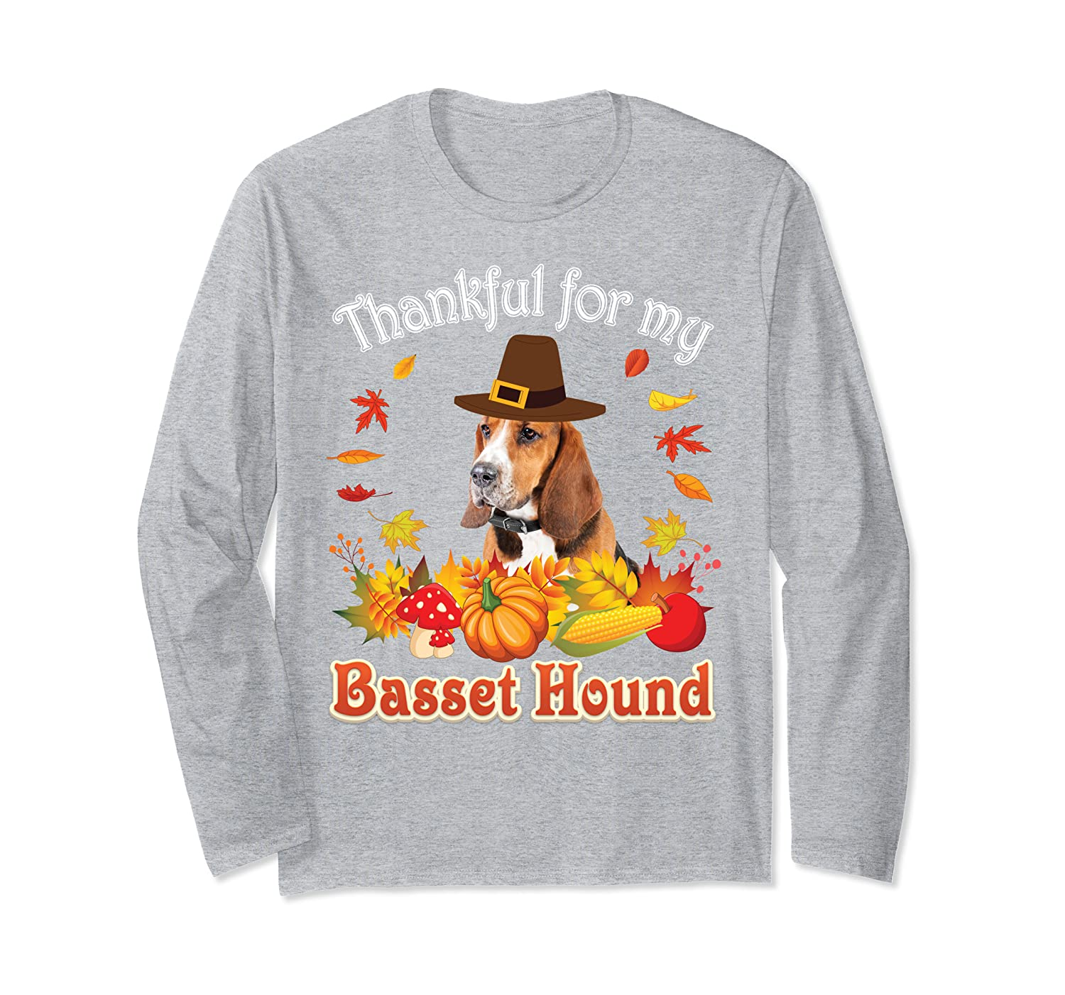I'm Thankful For My Basset Hound Dog Lover Pumpkin Fall  Long Sleeve T-Shirt