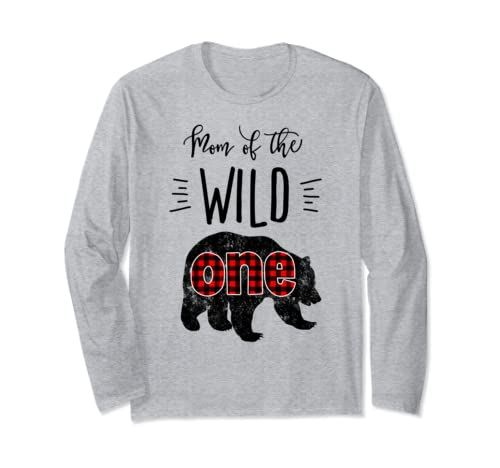 Mom Of The Wild One Vintage Bear Lumberjack 1st Birthday Long Sleeve T Shirt