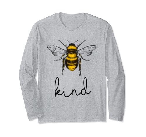 Bee Kind, Be Kind, Kindness Shirt Save The Bees,Womens Vegan Long Sleeve T Shirt