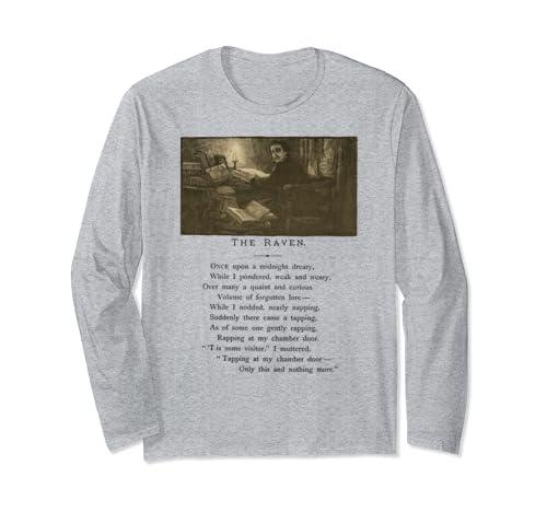 Raven Midnight Dreary Nevermore Literature Edgar Allan Poe Long Sleeve T Shirt