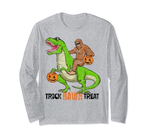 Bigfoot Riding T Rex Dinosaur Halloween Trick Rawr Treat Long Sleeve T Shirt