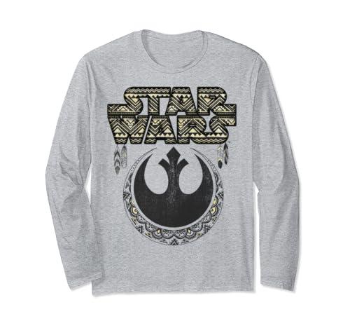Star Wars Geometric Pattern Title Logo Long Sleeve T Shirt
