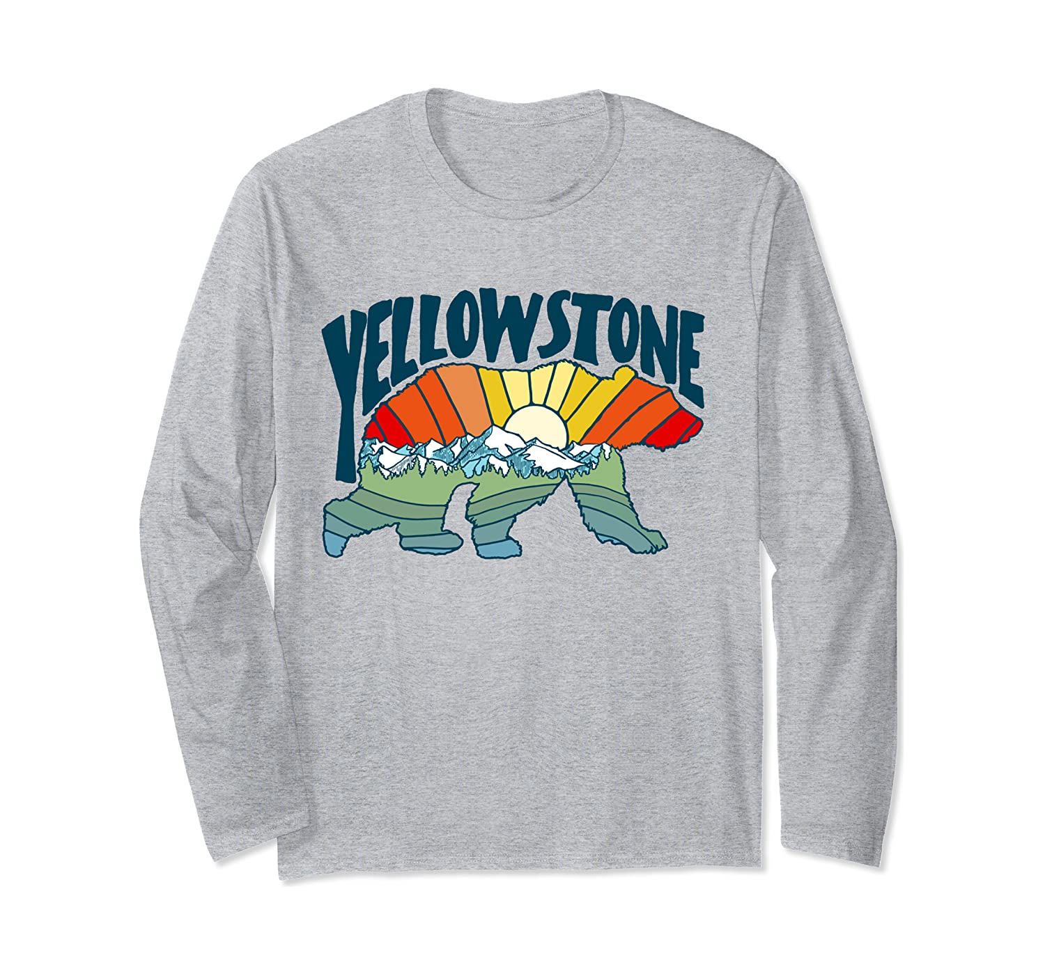 Yellowstone Colorful Abstract Nature Grizzly Bear Silhouette Long Sleeve T-Shirt