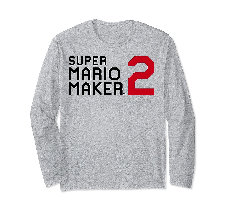 Amazon Com Super Mario Maker 2 Block Text Game Logo Long Sleeve T Shirt Clothing