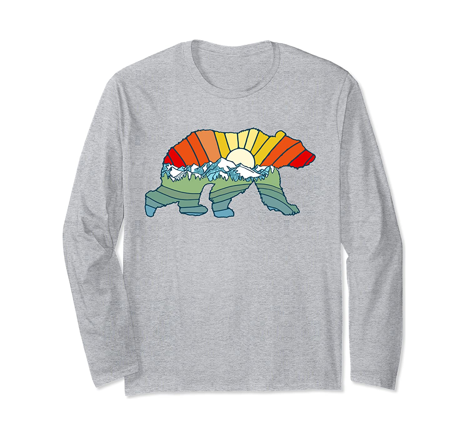 Artistic Nature Grizzly Bear Colorful Abstract Adventure Long Sleeve T-Shirt