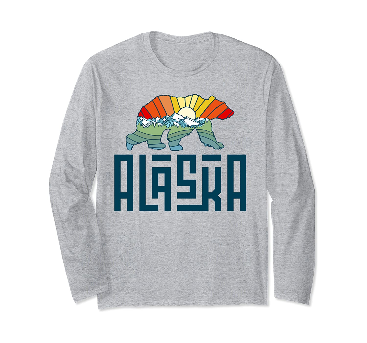 Alaska Grizzly Bear Colorful Nature Art Retro Graphic Long Sleeve T-Shirt