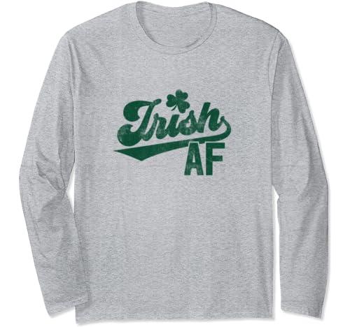 Funny Green Lucky St Pattys Day Shamrock Irish Af Long Sleeve T Shirt