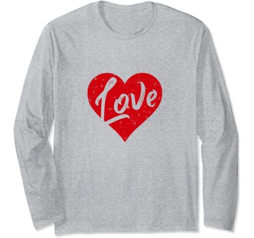 Cute Cursive Love Valentines Day Gift Distressed Heart Red Long Sleeve T Shirt