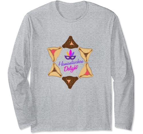 Happy Purim Hamantaschen Holiday Cookie   Jewish Mardi Gras Long Sleeve T Shirt