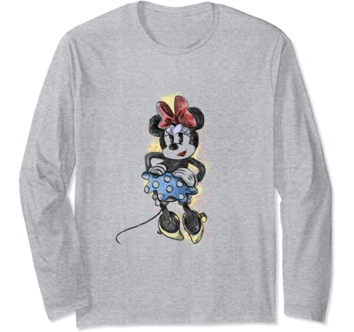 Disney Mickey And Friends Minnie Mouse Sketch Portrait Long Sleeve T Shirt