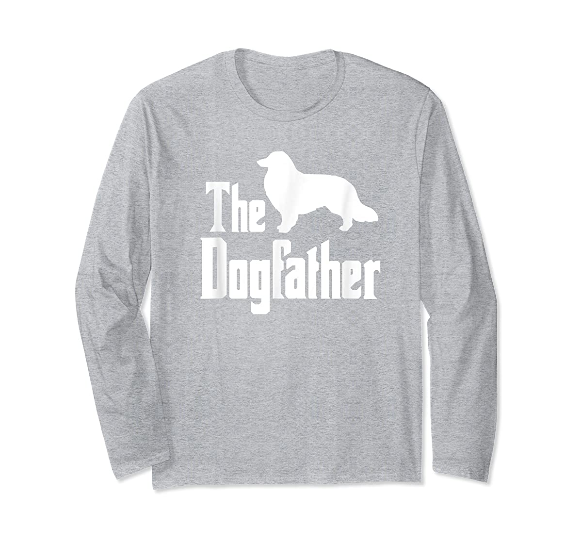 The Dogfather - funny Rough Collie T-Shirt, funny dog gift-Long Sleeve-Sport Grey