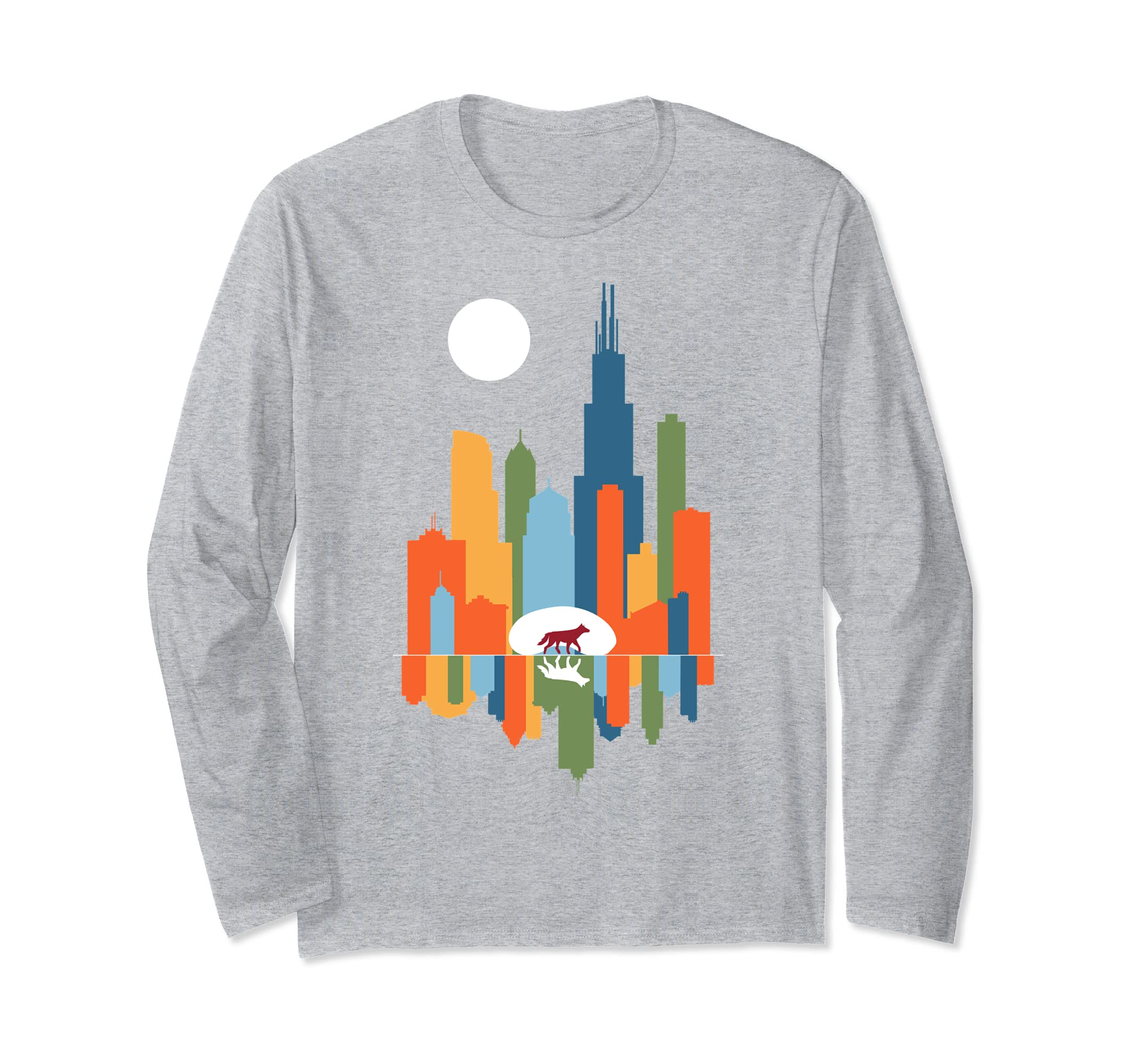 Chicago Illinois Skyline Color Modern Souvenir Gift T Shirt-azvn