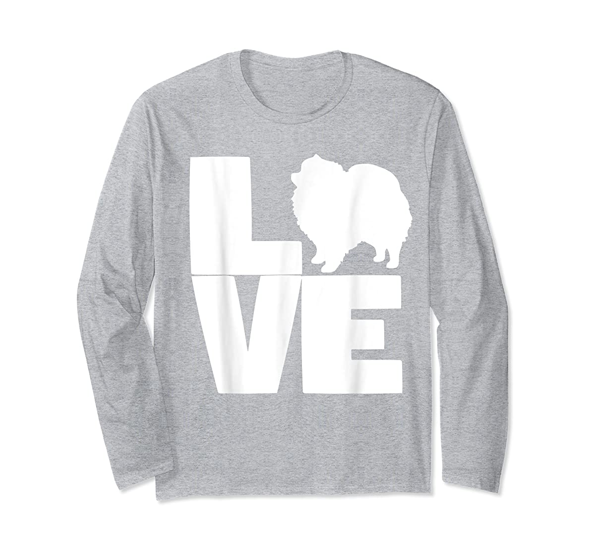 I Love Pomeranians Pom Mom or Dad Pet Lover T Shirt-Long Sleeve-Sport Grey
