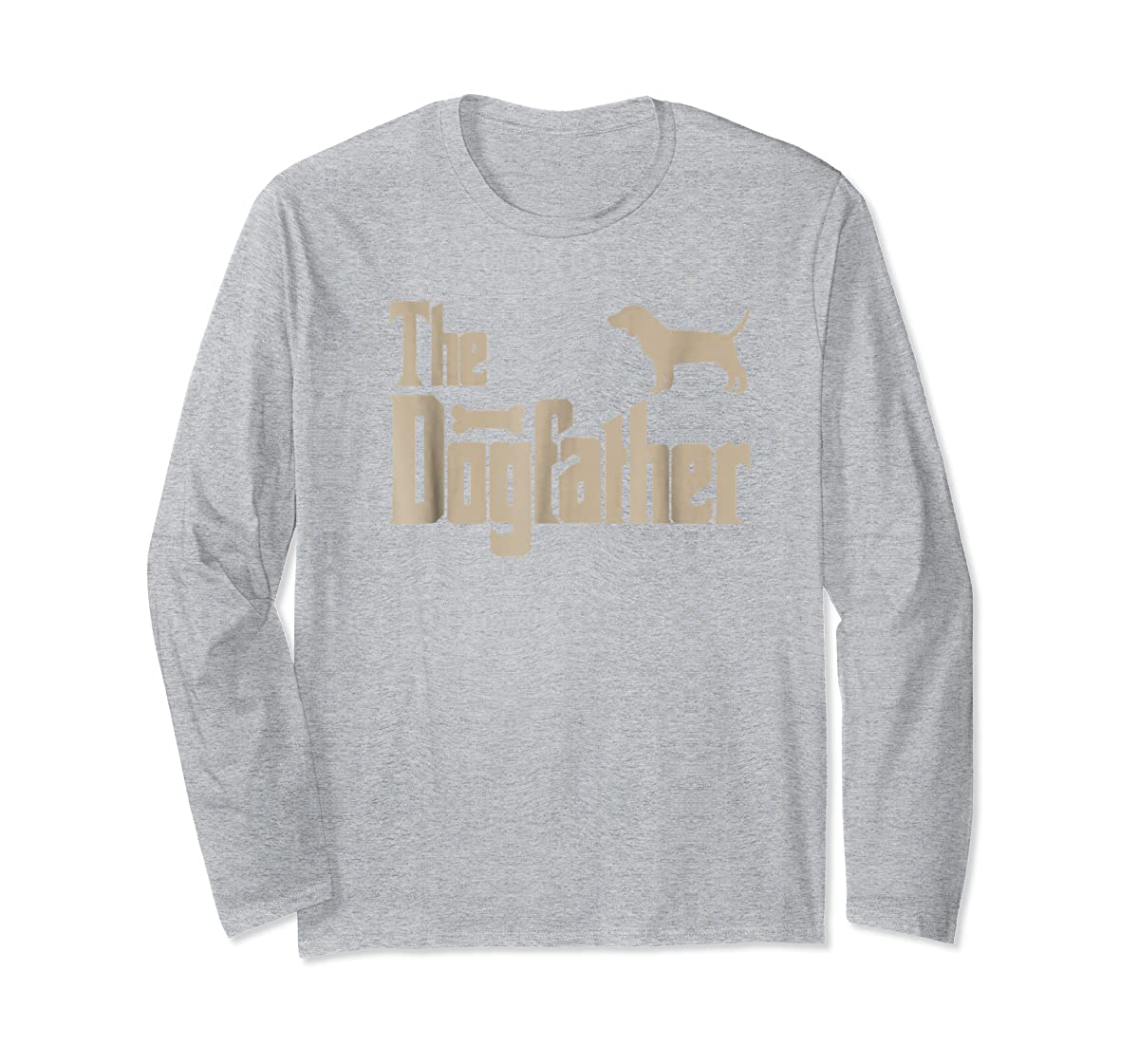 """Mens Beagle Dog Lovers Gifts """"The Dogfather"""" Men Tee Shirts-Long Sleeve-Sport Grey"""