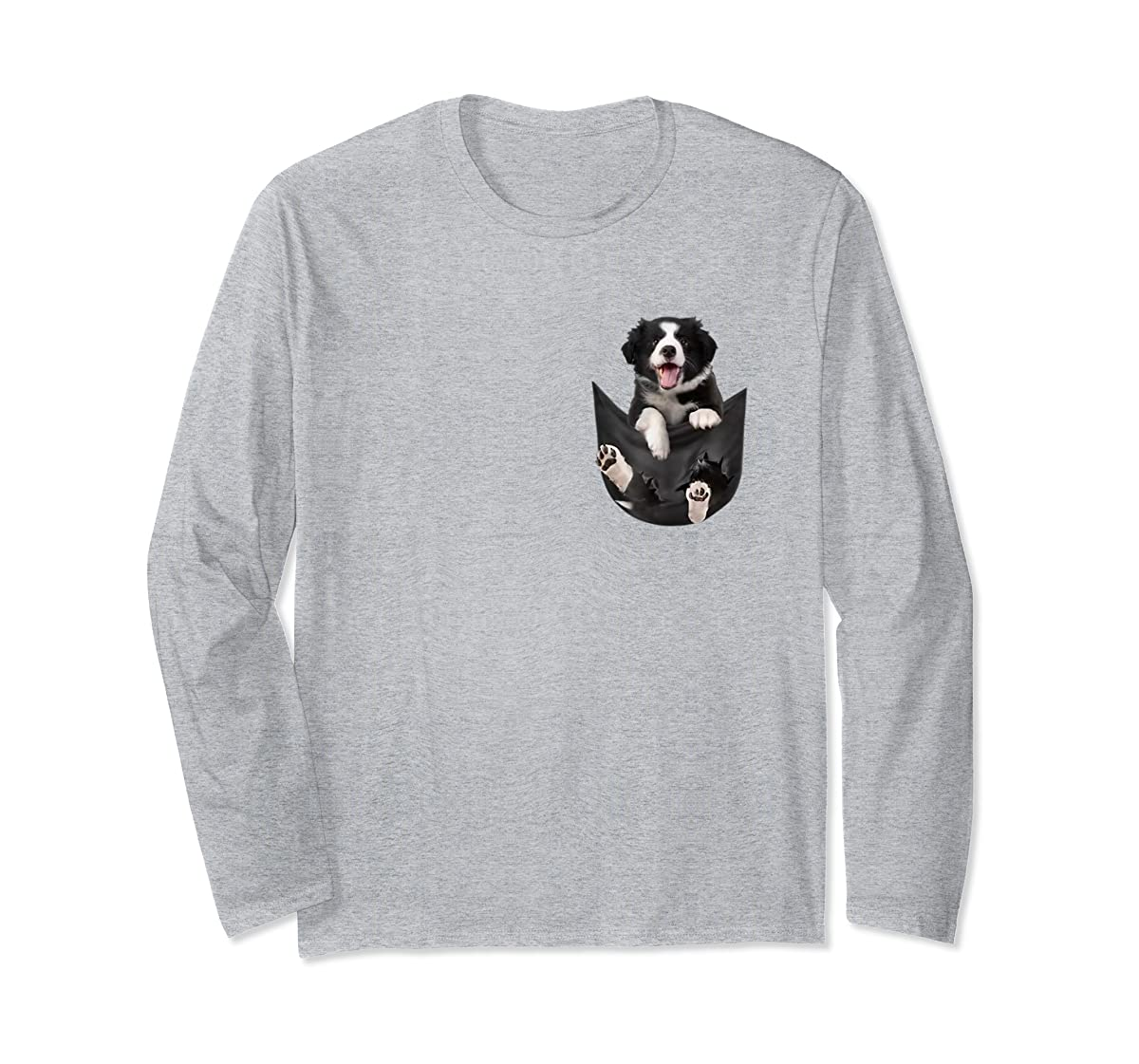 Border Collies Inside In Pocket Dog Lover T shirt Funny Cute-Long Sleeve-Sport Grey